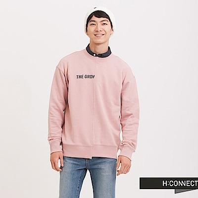 H:CONNECT 韓國品牌 男裝 - 立體印字不對稱大學T - 粉