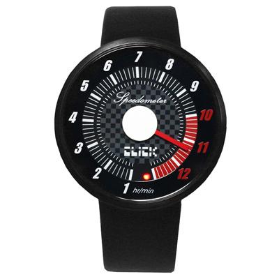 CLICK 飆速儀表個性皮帶錶-黑/45mm