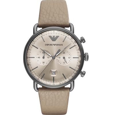 Emporio Armani  復刻時尚計時腕錶(AR11107)卡其色系/43mm