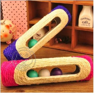 麻繩彩色貓滾球‧磨爪消磨時間好玩具