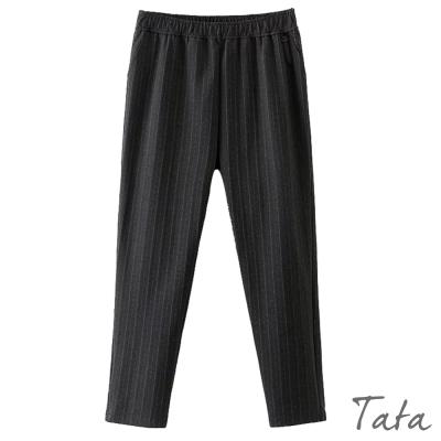 鬆緊腰條紋棉質褲-TATA