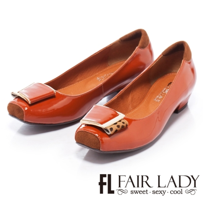 Fair-Lady-摩登都會漆皮釦環粗跟鞋-橙
