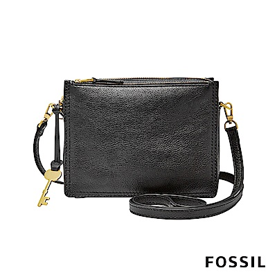 FOSSIL CAMPBELL多夾層真皮立體小方包-黑色