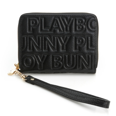 PLAYBOY- 零錢夾 Fashion Brand 時尚烙印系列-時尚黑