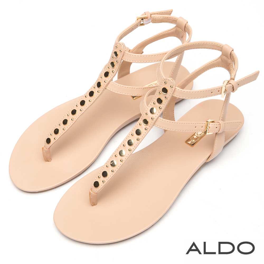 ALDO 原色金屬鉚釘圓釦T字繫踝低跟涼鞋~氣質裸膚