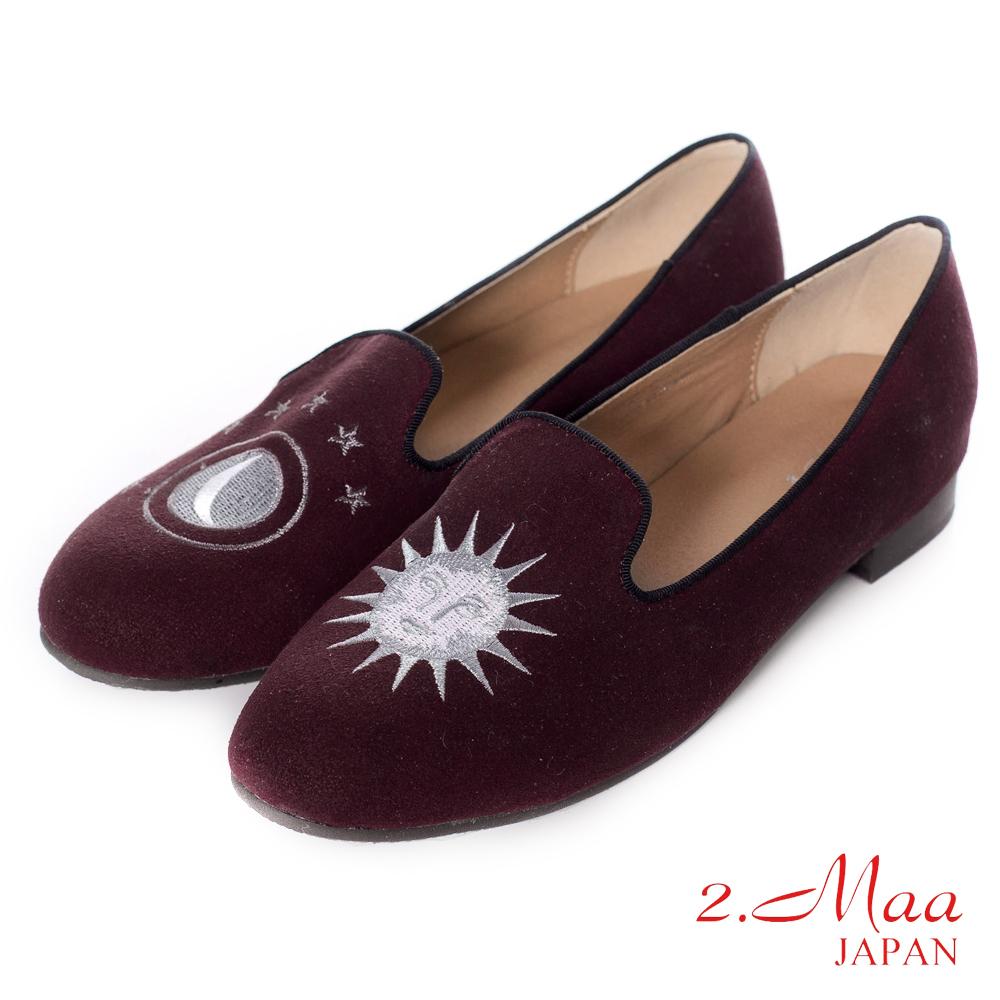 2.Maa藝術時尚精緻小太陽麂皮休閒低跟樂福鞋-海棠紅