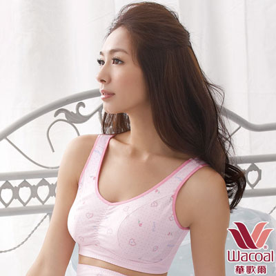 華歌爾-睡眠胸罩印花款-L-3L胸罩-玫瑰粉