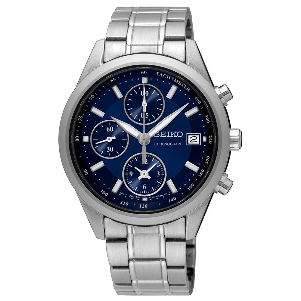 SEIKO精工 經典雅爵三眼計時視距儀石英腕錶(SNDV53P1)-藍色/36mm
