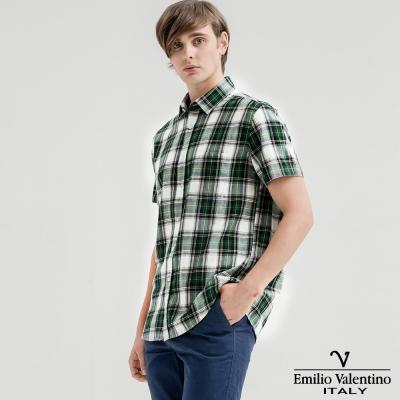 Emilio Valentino范倫提諾水洗格紋襯衫-綠灰