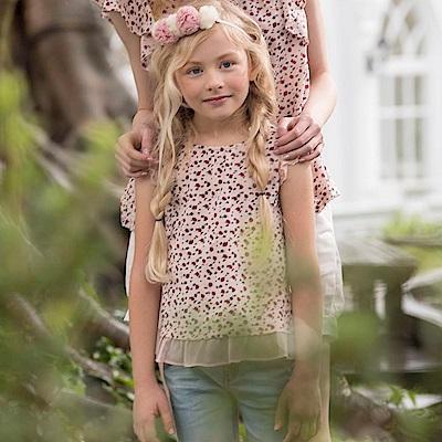 PIPPY 小紅花蕾絲袖上衣 粉橙