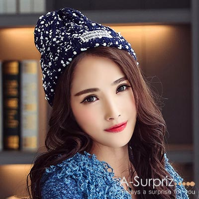 A-Surpriz-雪花混色反摺針織帽-深藍