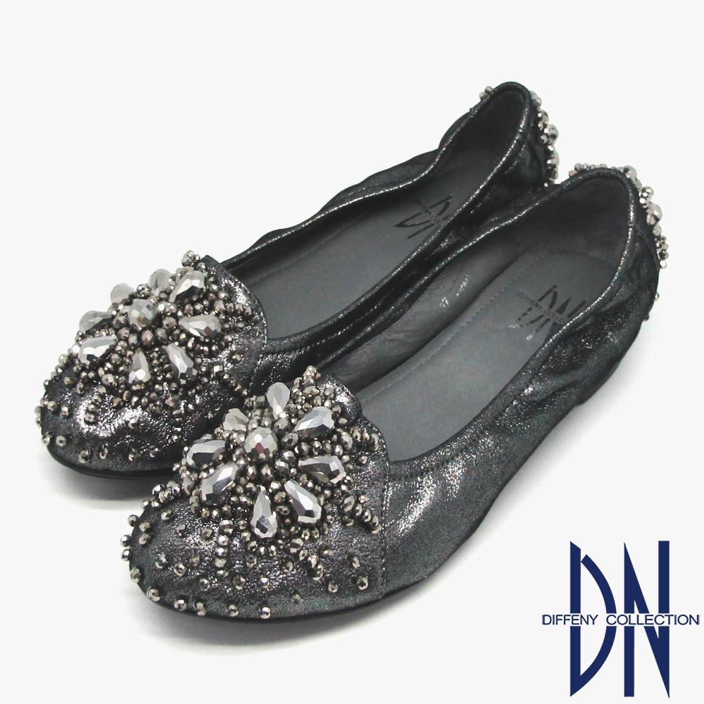 DN 璀璨名媛 全真皮精緻串珠花朵內增高娃娃鞋 灰