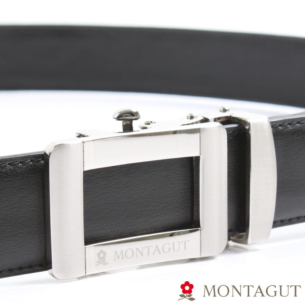 MONTAGUT夢特嬌-經典簍空框Logo款-二層牛皮自動扣皮帶-754
