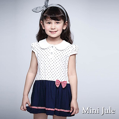 Mini Jule 童裝-洋裝 娃娃領點點雙釦拼接短袖洋裝(寶藍)