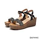 達芙妮DAPHNE 涼鞋-水鑽排列一字楔型厚底涼鞋-黑
