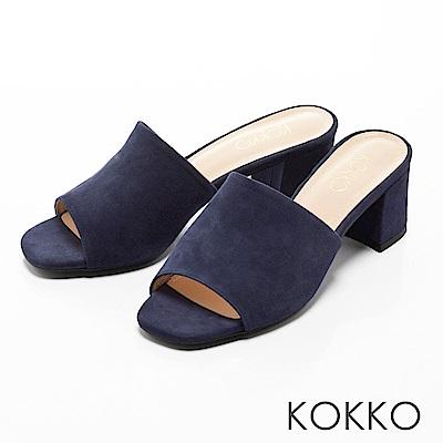 KOKKO - 優雅復古方頭高跟涼拖鞋-海洋藍