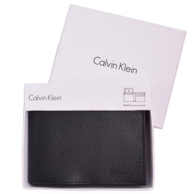 Calvin Klein 荔枝紋皮革雙摺短夾-黑(附原廠禮盒)