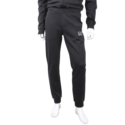 EMPORIO ARMANI 經典圖標黑色束口彈性棉運動褲(男款)