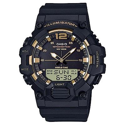 CASIO 經典再現10年電力雙顯電子錶(HDC-700-9A)-黑X金指針/48.8mm