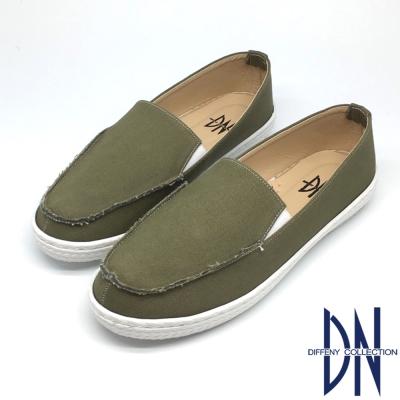 DN 舒適百搭 牛仔布不修邊造型休閒鞋-綠