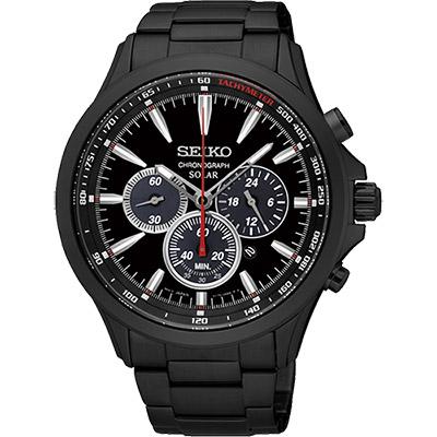 SEIKO SOLAR 太陽能奔馳計時腕錶(SSC497P1)-黑/44mm