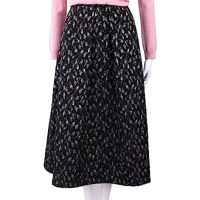 BLUGIRL-FOLIES 泰絲紫花刺繡黑色長裙