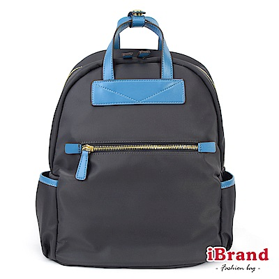 iBrand 簡約設計撞色皮革手提後背包-深灰