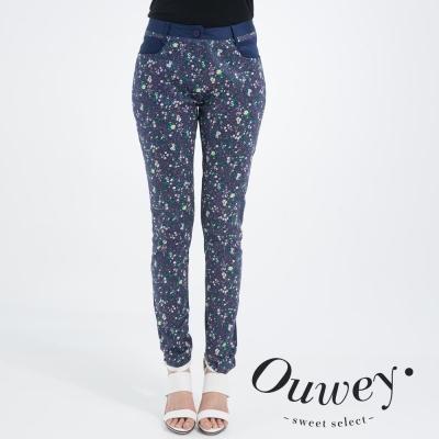 OUWEY歐薇-小花滿版拼接窄管褲