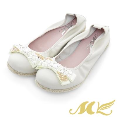 MK-真皮手作優選-經典法式水鑽平底娃娃鞋-白色