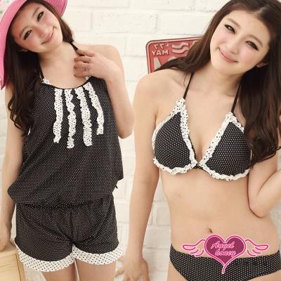 天使霓裳 美蕾甜心 四件式比基尼泳衣(黑M~XL)