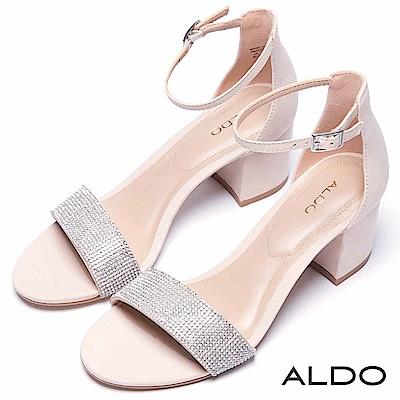 ALDO 原色一字水鑽佐金屬繫踝粗跟涼鞋~名媛裸色