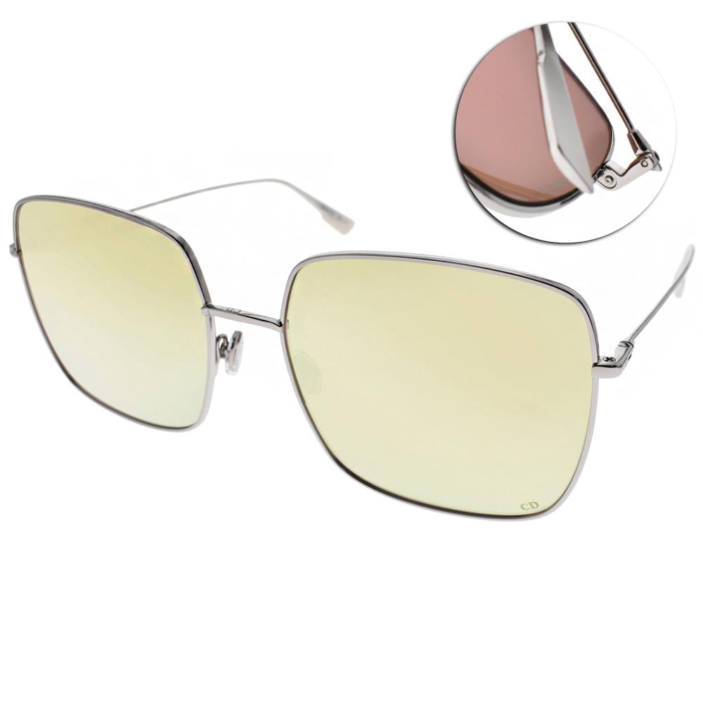 DIOR太陽眼鏡 熱銷方框款/銀-黃水銀#STELLAIRE1 010SQ