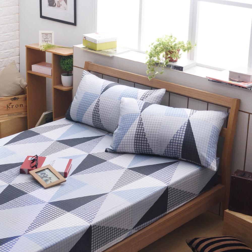 日本濱川佐櫻-幾何風格 文青風柔絲絨單人二件式床包組
