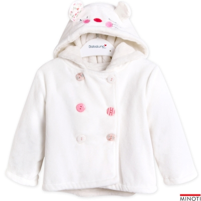 Minoti 英國 白色小貓臉內絨毛連帽天鵝絨排釦外套