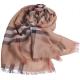 BURBERRY 經典大格紋羊毛絲綢披肩/圍巾(駝色) product thumbnail 1