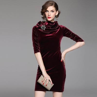 a la mode 艾拉摩兒 立領星光軟絨窄版短洋裝(兩色/S-4XL)