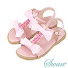 Swan天鵝童鞋-甜美珍珠蝴蝶結T字涼鞋 3843-粉