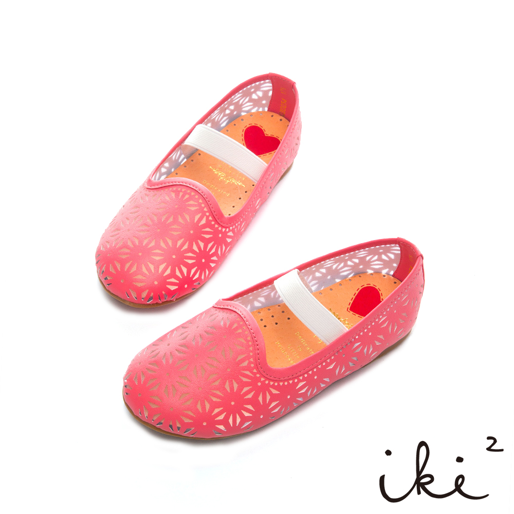 iki2童鞋-跳耀芭蕾繫帶娃娃鞋-桃