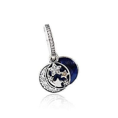 Pandora 潘朵拉 鑲鋯藍色琺瑯多層次星空 垂墜純銀墜飾 串珠
