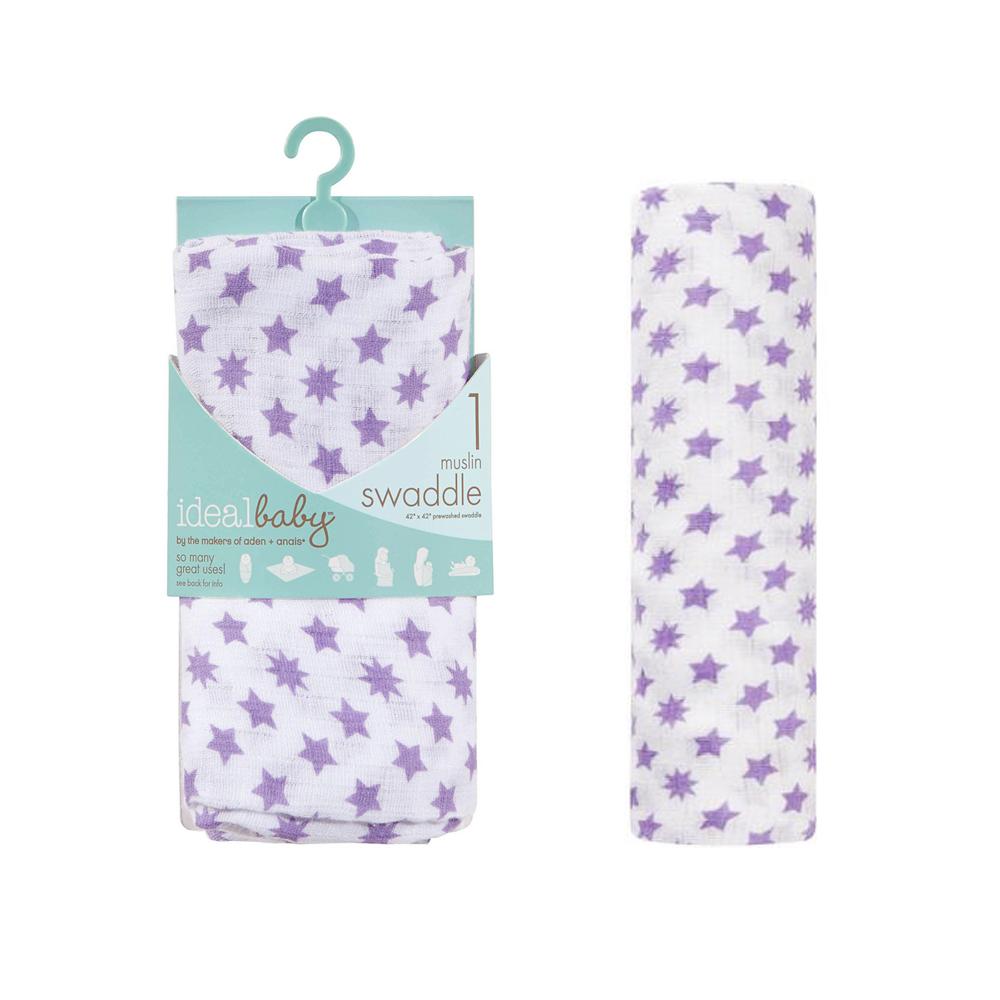 美國idealbaby 輕柔新生兒包巾(1入)-紫星星 IB131