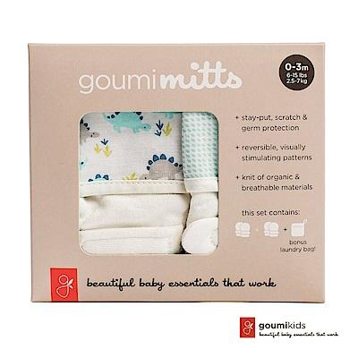 美國GOUMIKIDS有機棉手套2入禮盒(小恐龍&點點淺綠)