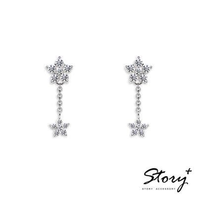 STORY ACCESSORY-小花鋯石垂墜-純銀耳環