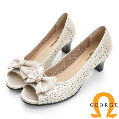 GEORGE 喬治-婚鞋系列 全真皮鏤空蝴蝶結魚口鞋中跟鞋(女)-白色