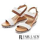 Fair Lady 香榭質感寬帶撞色楔型涼鞋 白