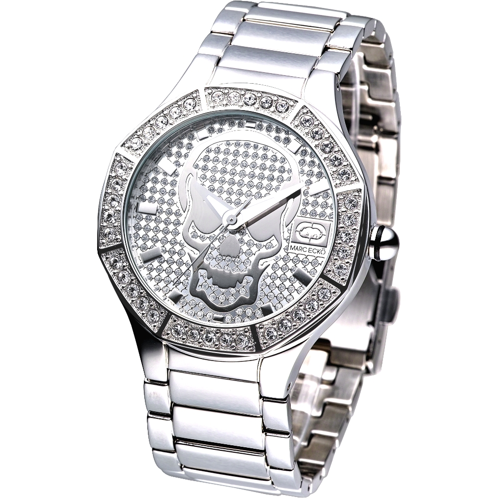 MARC ECKO 神鬼戰士骷髏圖騰晶鑽腕錶-銀/40mm