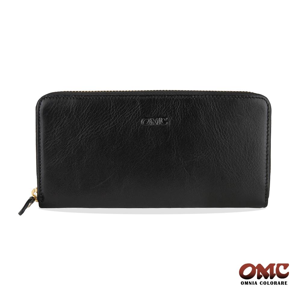 OMC 原皮系列-植鞣牛皮單拉鏈後袋12卡透明窗多隔層零錢長夾-黑色