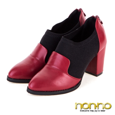 nonno性感歐美 質感皮革金絲彈性拼接粗跟鞋- 紅