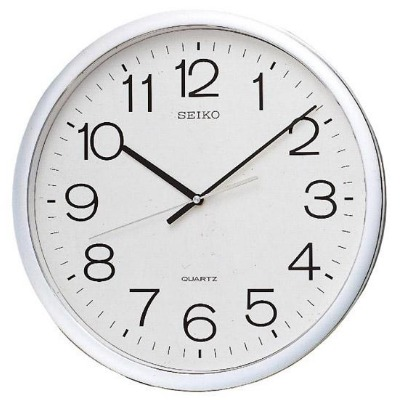 SEIKO 精工 銀框 標準型 辦公室掛鐘-白/40cm