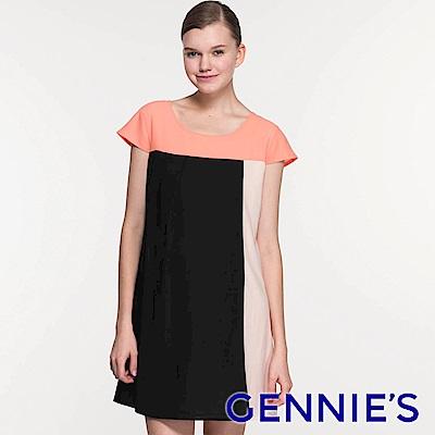 Gennie's奇妮-時尚撞色拼接春夏孕婦洋裝 (T1719)-M