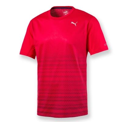 PUMA-男性慢跑系列印花短袖T恤-緞帶紅-歐碼